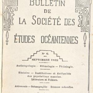 Bulletin de la Société des Études Océaniennes numéro 06