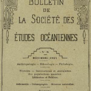 Bulletin de la Société des Études Océaniennes numéro 09